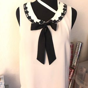 LC Lauren Conrad Sleeveless Tie Neck Blouse
